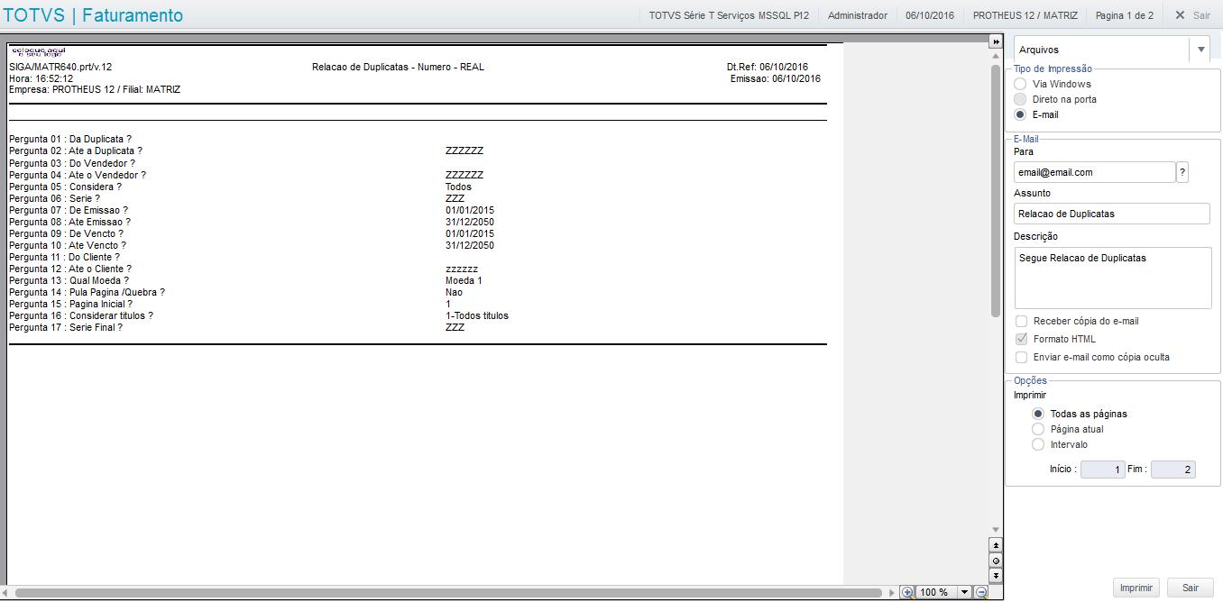 Relatório por e-mail